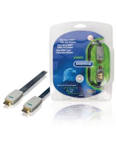 High Speed HDMI kabel met Ethernet Plat HDMI-Connector - HDMI-Connector 7.50 m Blauw